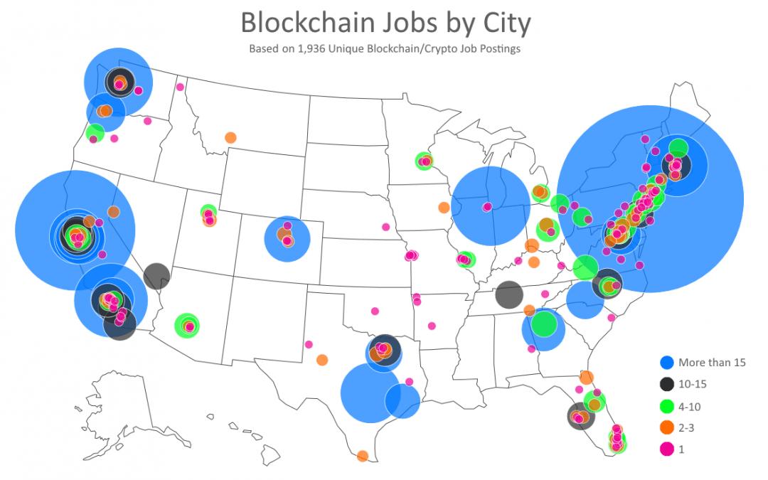 Top Cities for Blockchain Job Postings