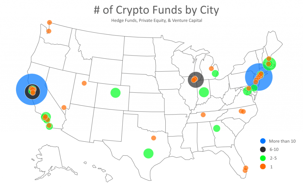heatmap of crypto hedge funds and venture capital by city