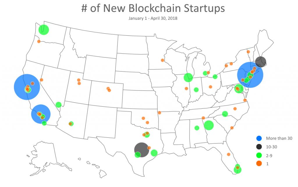 Heatmpa of US blockchain startups 2018