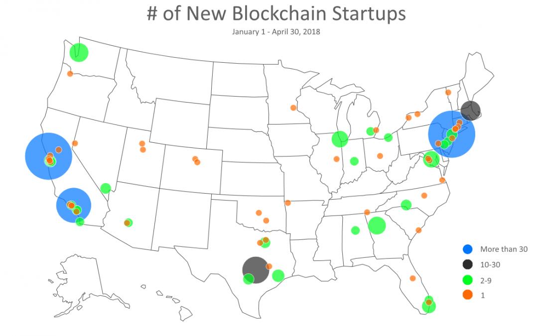 Blockchain Startups by City Jan 1- April 30, 2018